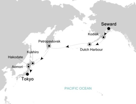 Singles Cruise - Balconies-Suites Silversea Silver Shadow September 7-22 2020 Seward, AK, United States to Tokyo, Japan