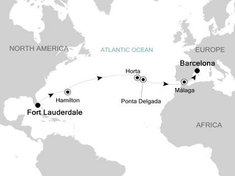 Singles Cruise - Balconies-Suites Silversea Silver Spirit April 11-26 2019 Fort Lauderdale, Florida to Barcelona