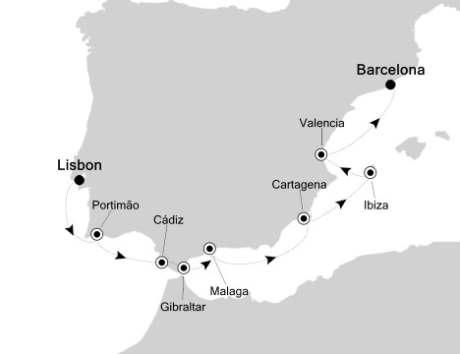 Singles Cruise - Balconies-Suites Silversea Silver Spirit April 13-22 2020 Lisbon, Portugal to Barcelona, Spain