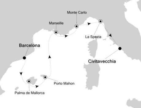 Silversea Silver Spirit April 22-29 2017 Barcelona, Spain to Civitavecchia, Italy