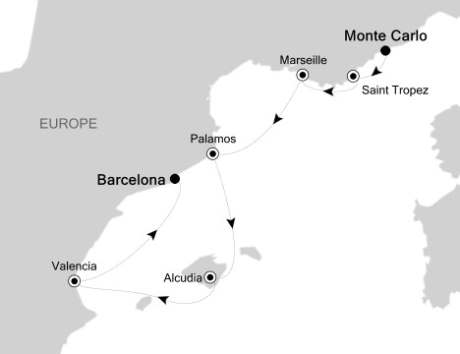 World Cruise BIDS - Silversea Silver Encore August 2-9 2022 Monte Carlo, Monaco to Barcelona, Spain