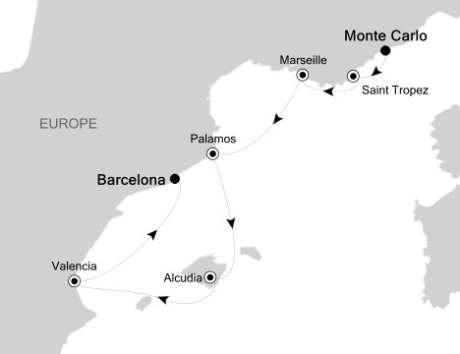 SINGLE Cruise - Balconies-Suites Silversea Silver Spirit August 2-9 2020 Monte Carlo, Monaco to Barcelona, Spain