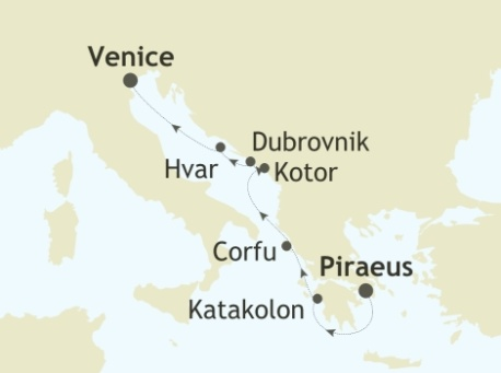 SINGLE Cruise - Balconies-Suites Silversea Silver Spirit August 5-12 2019 Piraeus, Athens to Venice
