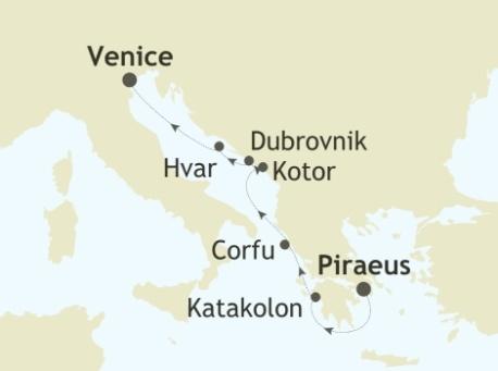 Singles Cruise - Balconies-Suites Silversea Silver Spirit August 5-12 2019 Piraeus, Athens to Venice