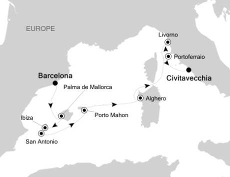 Silversea Silver Spirit August 9-18 2017 Barcelona, Spain to Civitavecchia, Italy