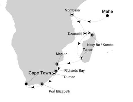Silversea Silver Spirit December 18 2017 January 5 2018 Mahé, Seychelles to Cape Town, South Africa
