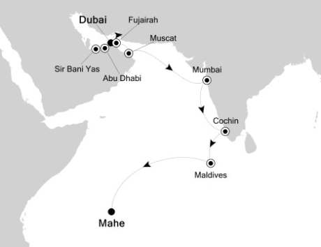 Singles Cruise - Balconies-Suites Silversea Silver Spirit December 3-18 2020 Dubai, United Arab Emirates to Mahé, Seychelles