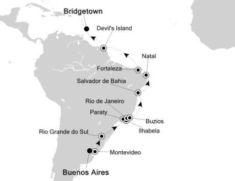 SINGLE Cruise - Balconies-Suites Silversea Silver Spirit February 20 March 10 2020 Buenos Aires, Argentina to Bridgetown, Barbados