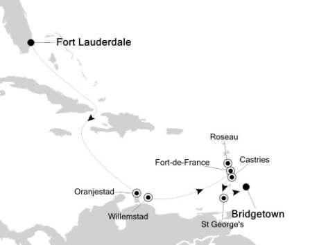 SINGLE Cruise - Balconies-Suites Silversea Silver Spirit January 15-25 2019 Fort Lauderdale, Florida to Bridgetown