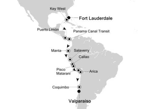 Silversea Silver Spirit January 16 February 3 2017 Fort Lauderdale, FL, United States to Valparaíso, Chile