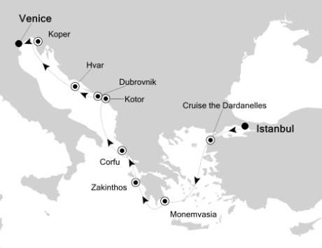 World CRUISE SHIP BIDS - Silversea Silver Encore July 1-11 2023 Istanbul, Turkey to Venice, Italy