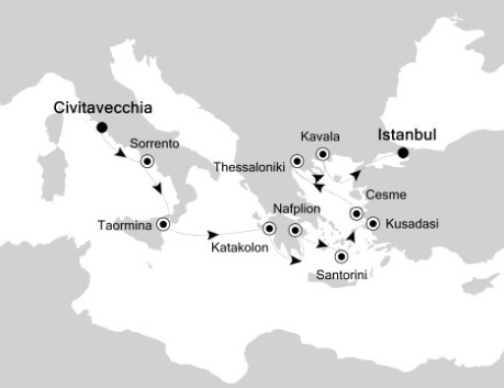 Singles Cruise - Balconies-Suites Silversea Silver Spirit July-18-29 2019 Civitavecchia, Italy to Istanbul, Turkey