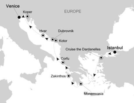 Singles Cruise - Balconies-Suites Silversea Silver Spirit July 6-17 2020 Istanbul, Turkey to Venice, Italy