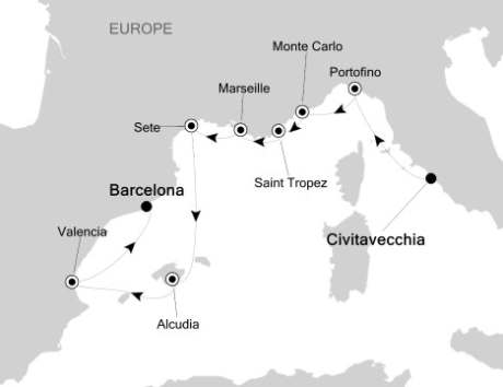 Silversea Silver Spirit May 13-22 2017 Civitavecchia, Italy to Barcelona, Spain