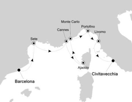 World CRUISE SHIP BIDS - Silversea Silver Encore May 22-31 2022 Barcelona, Spain to Civitavecchia, Italy