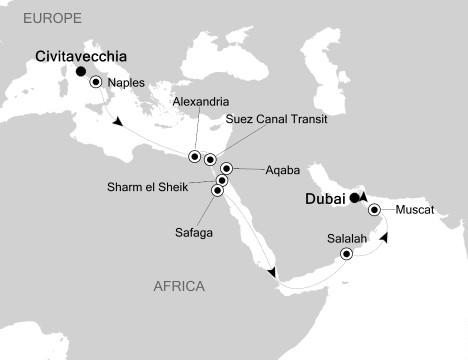 Singles Cruise - Balconies-Suites Silversea Silver Spirit November 15 December 3 2020 Civitavecchia, Italy to Dubai, United Arab Emirates