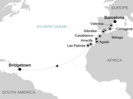 Singles Cruise - Balconies-Suites Silversea Silver Spirit November 5-21 2019 Barcelona to Bridgetown