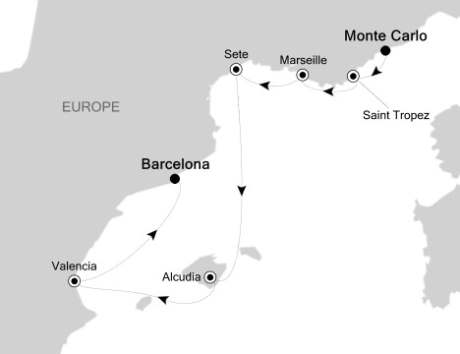 LUXURY CRUISES FOR LESS Silversea Silver Spirit October 16-23 2020 Monte Carlo, Monaco to Barcelona, Spain