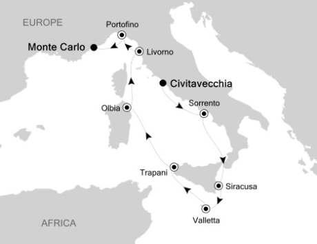 Singles Cruise - Balconies-Suites Silversea Silver Spirit October 7-16 2020 Civitavecchia, Italy to Monte Carlo, Monaco