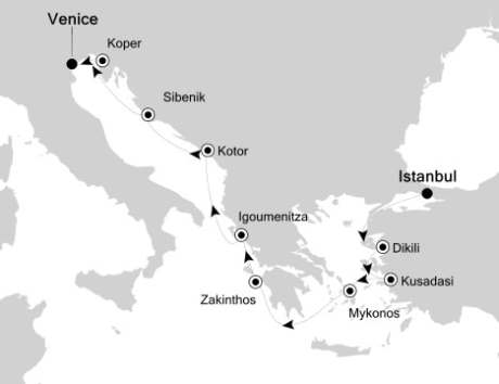 Singles Cruise - Balconies-Suites Silversea Silver Spirit September 9-19 2019 Istanbul, Turkey to Venice