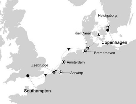 Singles Cruise - Balconies-Suites Silversea Silver Whisper June 16-23 2020 Southampton, United Kingdom to Copenhagen, Denmark