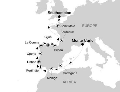 SINGLE Cruise - Balconies-Suites Silversea Silver Whisper May 8-22 2020 Monte Carlo, Monaco to Southampton, United Kingdom