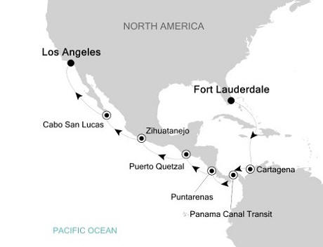 Silversea Silver Whisper November 11-27 2016 Fort Lauderdale, Florida to Los Angeles, California, USA