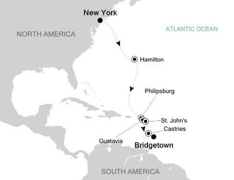 LUXURY CRUISE - Balconies-Suites Silversea Silver Whisper November 2-13 2020 New York, NY, United States to Bridgetown, Barbados