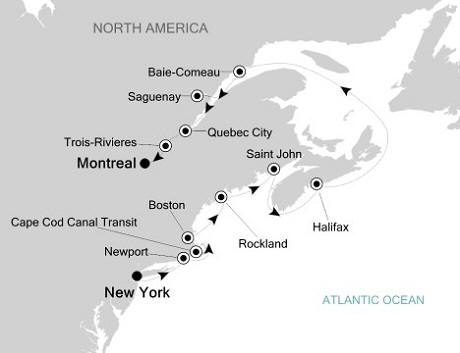 Singles Cruise - Balconies-Suites Silversea Silver Whisper October 12-23 2020 New York, NY, United States to Montreal, Canada