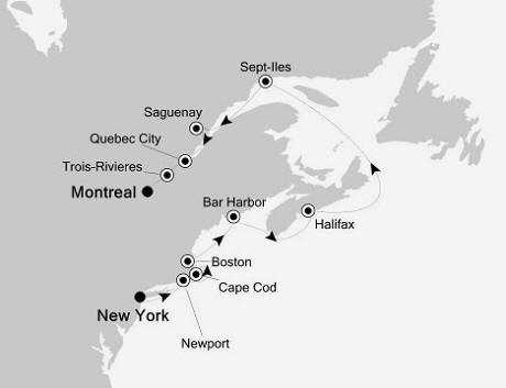Silversea Silver Whisper October 3-13 2016 New York, New York to Montreal