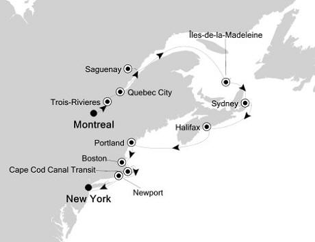 Singles Cruise - Balconies-Suites Silversea Silver Whisper September 8-19 2020 Montreal, Canada to New York, NY, United States