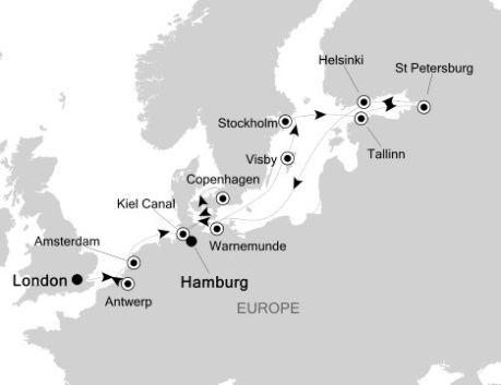 Singles Cruise - Balconies-Suites Silversea Silver Wind August 24 September 9 2020 London, United Kingdom to Hamburg, Germany