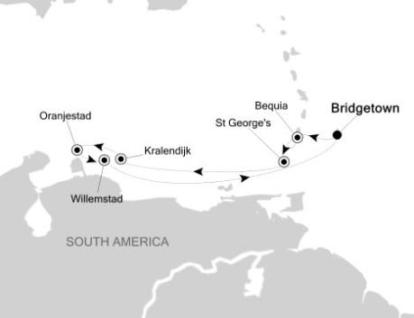 Singles Cruise - Balconies-Suites Silversea Silver Wind December 9-16 2020 Bridgetown, Barbados to Bridgetown, Barbados