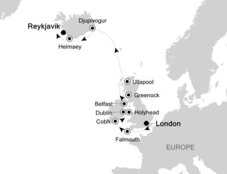 Singles Cruise - Balconies-Suites Silversea Silver Wind July 31 August 12 2020 London, United Kingdom to Reykjavík, Iceland