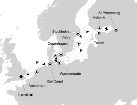 Singles Cruise - Balconies-Suites Silversea Silver Wind June 29 July 14 2020 London, United Kingdom to London, United Kingdom