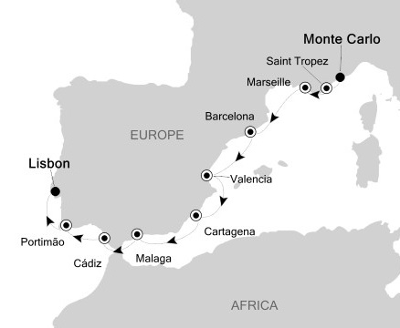 SINGLE Cruise - Balconies-Suites Silversea Silver Wind May 21-31 2019 Monte Carlo, Monaco to Lisbon, Portugal