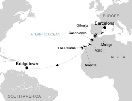 LUXURY CRUISES FOR LESS Silversea Silver Wind November 10-25 2020 Barcelona, Spain to Bridgetown, Barbados