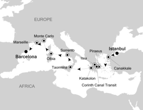 SINGLE Cruise - Balconies-Suites Silversea Silver Wind October 30 November 10 2020 Istanbul, Turkey to Barcelona, Spain