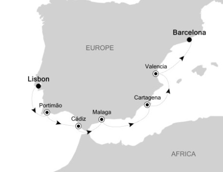 Silversea Silver Wind September 23-30 2017 Lisbon, Portugal to Barcelona, Spain