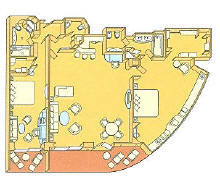 7 Seas LUXURY Cruise Silversea Luxury Cruise Grand Suite Diagram