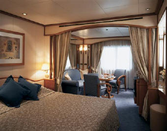 Charters, Groups - Luxury Cruises Silversea A Silver Cloud or Silver Wind Vista Suite